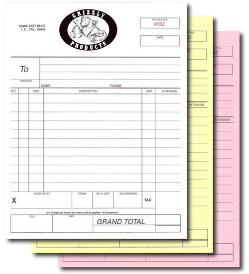 rainier copy & print, Invoice templates